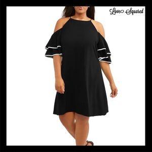 NEW LOVE SQUARED BLACK COLD-SHOULDER MINI DRESS